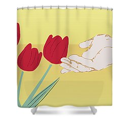 Shower Curtain featuring the digital art The Tulips by Milena Ilieva