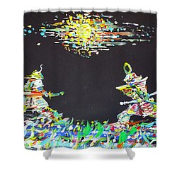 Shower Curtain featuring the painting The Two Samurais by Fabrizio Cassetta