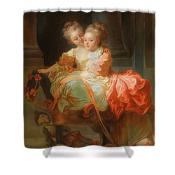 Shower Curtain featuring the painting The Two Sisters                                   by Jean Claude Richard