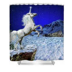Shower Curtain featuring the digital art The Ultimate Return Of Unicorn  by William Lee