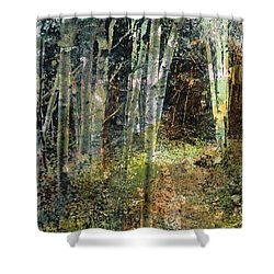 Shower Curtain featuring the painting The Underbrush by Frances Marino