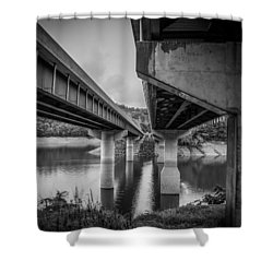 The Underside Of Two Bridges Shower Curtain by Kelly Hazel