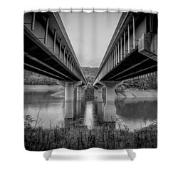 Shower Curtain featuring the photograph The Underside Of Two Bridges Symmetry In Black And White by Kelly Hazel