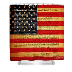 The United States Declaration Of Independence - American Flag - Square Shower Curtain