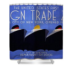The United States' First Foreign Trade Zone - Vintage Poster Folded Shower Curtain
