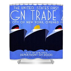 The United States' First Foreign Trade Zone - Vintage Poster Restored Shower Curtain