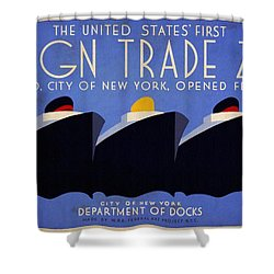 The United States' First Foreign Trade Zone - Vintage Poster Vintagelized Shower Curtain