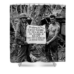 The U.s. Marines Salute The U.s. Coast Shower Curtain by Stocktrek Images