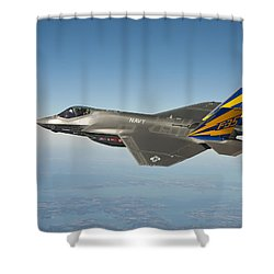 Shower Curtain featuring the painting The U.s. Navy Variant Of The F-35 Joint Strike Fighter, The F-35c by Celestial Images