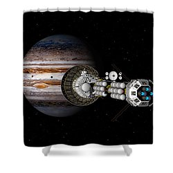 The Uss Savannah Nearing Jupiter Shower Curtain by David Robinson