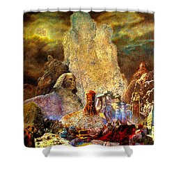 Shower Curtain featuring the painting The Valley Of Sphinks by Henryk Gorecki