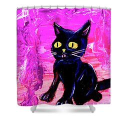 Shower Curtain featuring the painting The Vampire Cat Baby Lestat by eVol i