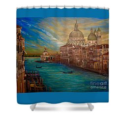 The Venice Of My Recollection With Digital Enhancement Shower Curtain by Kimberlee Baxter