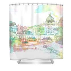 The View From Castel Sant'angelo Towards Ponte Sant'angelo, Brid Shower Curtain