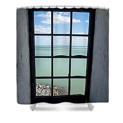 The View From The Lighthouse Window Bill Baggs Lighthouse Key Biscayne Florida Shower Curtain