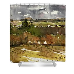 The View On Burlingame Road Shower Curtain by Judith Levins