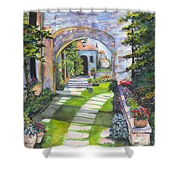 Shower Curtain featuring the digital art The Villa by Darren Cannell