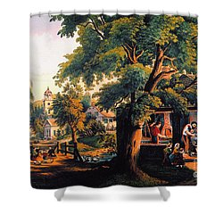 The Village Blacksmith Shower Curtain by Granger