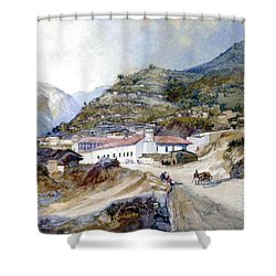 The Village Of Angangueo Shower Curtain by Thomas Moran