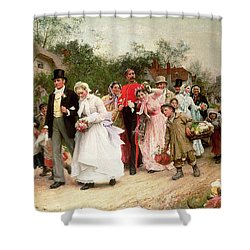 The Village Wedding Shower Curtain by Sir Samuel Luke Fildes