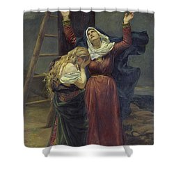 The Virgin At The Foot Of The Cross Shower Curtain by Jean Joseph Weerts