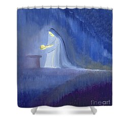 The Virgin Mary Cared For Her Child Jesus With Simplicity And Joy Shower Curtain by Elizabeth Wang