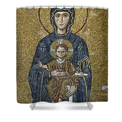 The Virgin Mary Holds The Child Christ On Her Lap Shower Curtain by Ayhan Altun