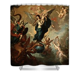Shower Curtain featuring the painting The Virgin Of The Apocalypse by Miguel Cabrera