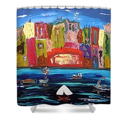 Shower Curtain featuring the painting The Vista Of The City by Mary Carol Williams