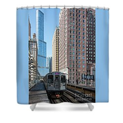 The Wabash L Train At Eye Level Shower Curtain