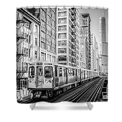 The Wabash L Train In Black And White Shower Curtain