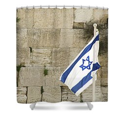 The Wailing Wall And The Flag Shower Curtain by Yoel Koskas