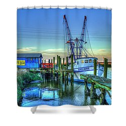 Shower Curtain featuring the photograph The Waiting Shrimper Tybee Island Dawn Art by Reid Callaway