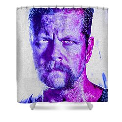 The Walking Dead Michael Cudlitz Sgt. Abraham Ford Painted Shower Curtain by David Haskett