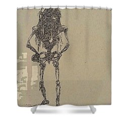 Shower Curtain featuring the drawing The Walking Dead by Reed Novotny