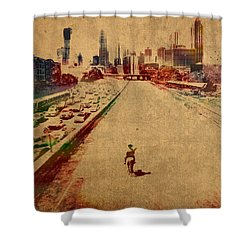 The Walking Dead Watercolor Portrait On Worn Distressed Canvas No 2 Shower Curtain by Design Turnpike