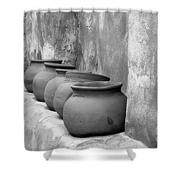 The Wall Of Pots Shower Curtain by Sandra Bronstein