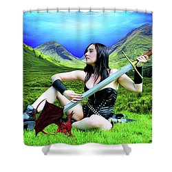 The Warrior And The Pseudo Dragon Shower Curtain