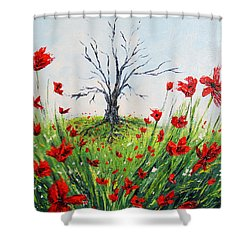 The Warrior Shower Curtain by Meaghan Troup