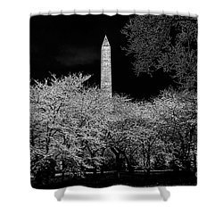 The Washington Monument At Night Shower Curtain by Lois Bryan