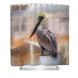 Shower Curtain featuring the mixed media The Watcher by Joel Witmeyer