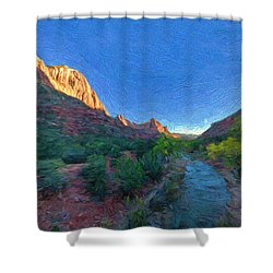 The Watchman Zion National Park Shower Curtain