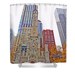 The Water Tower In Autumn Shower Curtain by Mary Machare