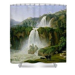 The Waterfall At Tivoli Shower Curtain by Jacob Philippe Hackert