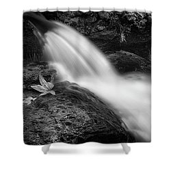 Shower Curtain featuring the photograph The Waterfall In Black And White  by Saija Lehtonen