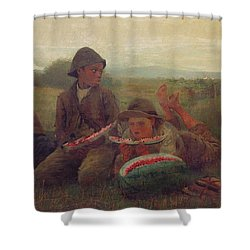 The Watermelon Boys Shower Curtain by Winslow Homer