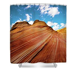 Shower Curtain featuring the photograph The Wave Arizona Rocks by Norman Hall