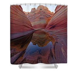 Shower Curtain featuring the photograph The Wave Reflection by Jonathan Davison