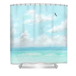 Shower Curtain featuring the digital art The Waves And Bird by Darren Cannell