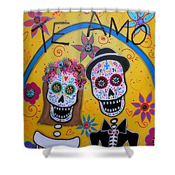 The Wedding Day Of The Dead Shower Curtain